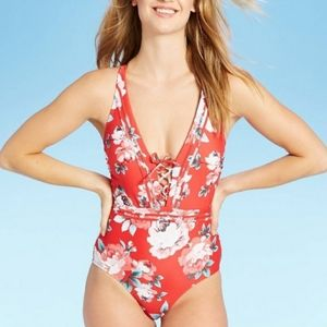 Kona Sol red floral one piece strappy swimsuit